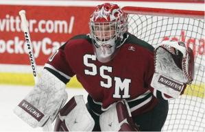 Anthony Brodeur in net for Shattuck-St. Mary's Prep.